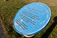 Pictured: A blue plaque for the Copper Works Dock by the coastal path outside the town. Wednesday 09 March 2018<br /> Re: The effect that the Scarlets RFC has had in the town of Llanelli in Carmarthenshire and the west Wales region.