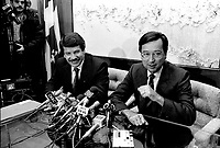 File photo - <br /> Jean Dore, Mayor of Montreal (L) and Robert Bourassa, Premier, Quebec (R) adress the medias in Montreal on December 1st , 1986<br /> <br />  File Photo : Pierre Roussel