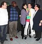 Timothy J. Alex  with Jordan Gelber, Michael Mandell, Beth Leavel, Wayne Knight  attending the Broadway Opening Night Gypsy Robe Ceremony celebrating Timothy J. Alex in 'Elf The Musical' at the Al Hirschfeld Theatre in New York City on 11/18/2012