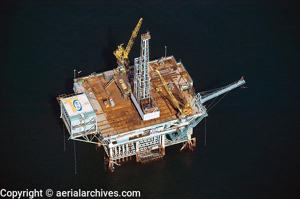 aerial photograph of a DCOR oil platform Dos Cuadras Offshore Oil Field, south of Santa Barbara, California