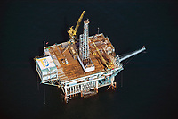aerial photograph of a DCOR oil platform Dos Cuadras Offshore Oil Field, south of Santa Barbara, California