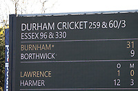 The overnight score is displayed on the big screen ahead of Day Four of Essex CCC vs Durham CCC, LV Insurance County Championship Group 1 Cricket at The Cloudfm County Ground on 18th April 2021