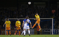 Luke O'Nien of Wycombe Wanderers leaps to head the ball forward during the Johnstone's Paint Trophy match between Bristol Rovers and Wycombe Wanderers at the Memorial Stadium, Bristol, England on 6 October 2015. Photo by Andy Rowland.