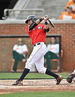 Georgia Bulldogs second baseman Mike Bell (12) swings at a pitch during a game against the Tennessee Volunteers at Lindsey Nelson Stadium March 21, 2015 in Knoxville, Tennessee. The Bulldogs defeated the Volunteers 12-7. (Tony Farlow/Four Seam Images)
