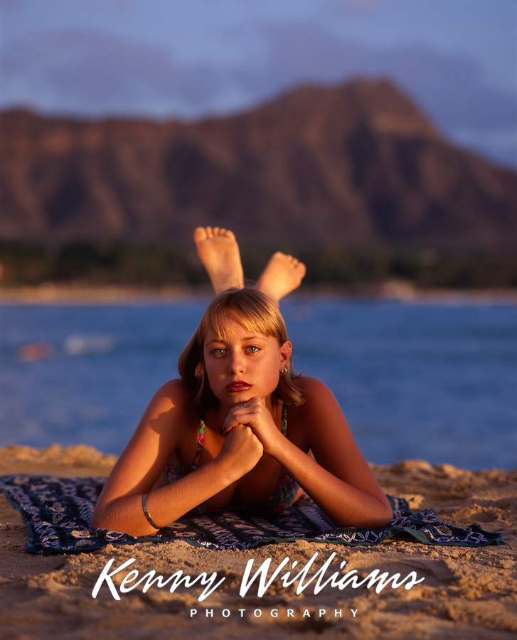 Bikini Swimsuit Girl, Waikiki Beach, Honolulu, Oahu, Hawaii, USA.