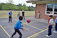 5th graders playing 4-square, Corvalis, Oregon