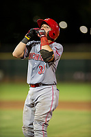 AZL Reds catcher Valentin Martinez (37) celebrates on first base after hitting a single against the AZL Giants on August 12, 2017 at Scottsdale Stadium in Scottsdale, Arizona. AZL Giants defeated the AZL Reds 1-0. (Zachary Lucy/Four Seam Images)
