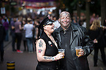 """© Joel Goodman - 07973 332324 . 22/08/2014 .  Manchester , UK . Maggie Davies (51 from Collyhurst) and Chris Rowlanson (41 from Blackley) on Canal Street . Manchester Pride """" Big Weekend """" in Manchester's """" Gay Village """" today ( 22nd August 2014 ) . Photo credit : Joel Goodman"""