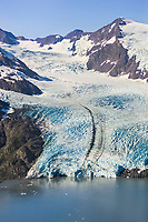 Aerial of Portage Glacier and Portage lake in the Chugach mountains, Kenai Peninsula, Alaska