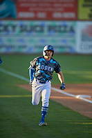 Ryan Ward (36) of the Ogden Raptors circles the bases after hitting a home run during the game against the Rocky Mountain Vibes at Lindquist Field on July 5, 2019 in Ogden, Utah. The Raptors defeated the Vibes 6-4. (Stephen Smith/Four Seam Images)