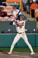 Designated hitter Davis Sharpe (30) of the Clemson Tigers bats in a game against the Charlotte 49ers on Monday, February 18, 2019, at Doug Kingsmore Stadium in Clemson, South Carolina. Clemson won, 7-6. (Tom Priddy/Four Seam Images)