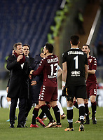 Calcio, Serie A: Roma, stadio Olimpico, 11 dicembre 2017.<br /> Torino's players and coach Sinisa Mihajlovic (l) celebrates after winning 3-1 the Italian Serie A football match between Lazio and Torino at Rome's Olympic stadium, December 11, 2017.<br /> UPDATE IMAGES PRESS/Isabella Bonotto
