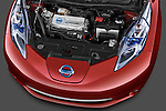 High angle engine detail of a 2011 Nissan Leaf SL .