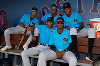 Miami Marlins (Clockwise from top left) Cristhian Rodriguez, Yoelvis Sanchez, Isaac De Leon, Dalvy Rosario, and Junior Sánchez during an Instructional League game against the Washington Nationals on September 26, 2019 at FITTEAM Ballpark of The Palm Beaches in Palm Beach, Florida.  (Mike Janes/Four Seam Images)