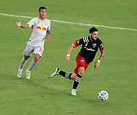 WASHINGTON, DC - SEPTEMBER 12: Junior Moreno #5 of D.C. United dribbles during a game between New York Red Bulls and D.C. United at Audi Field on September 12, 2020 in Washington, DC.