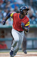 Daz Cameron (10) of the Toledo Mud Hens hustles down the first base line against the Charlotte Knights at BB&T BallPark on April 23, 2019 in Charlotte, North Carolina. The Knights defeated the Mud Hens 11-9 in 10 innings. (Brian Westerholt/Four Seam Images)