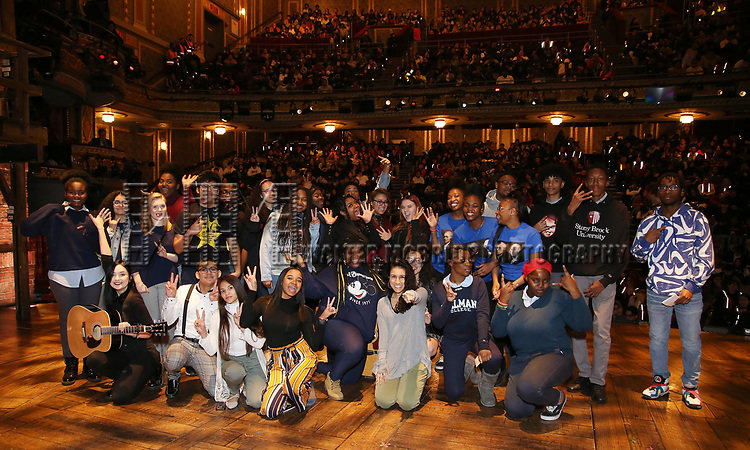 """Gabriella Sorrentino with student performers during the Q & A before The Rockefeller Foundation and The Gilder Lehrman Institute of American History sponsored High School student #eduHAM matinee performance of """"Hamilton"""" at the Richard Rodgers Theatre on 3/12/2020 in New York City."""