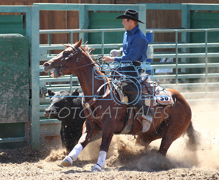 Flint Lee competes in the ranch horse class slack event at the Minden Ranch Rodeo on Saturday, July 23, 2011, in Gardnerville, Nev. .Photo by Cathleen Allison
