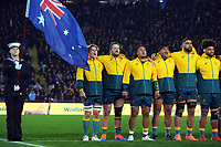 The Wallabies sing the national anthem before the Bledisloe Cup rugby match between the New Zealand All Blacks and Australia Wallabies at Eden Park in Auckland, New Zealand on Saturday, 7 August 2021. Photo: Dave Lintott / lintottphoto.co.nz
