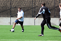 Thursday 11 April 2013<br /> Pictured: Sports reporter Riath Al-Samarrai (L)<br /> Re: Friendly game, Swansea City FC coaching staff v sports reporters at the Swansea City FC training ground. Final score 10-4.