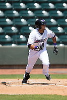 Keenyn Walker (24) of the Winston-Salem Dash hustles down the first base line against the Carolina Mudcats at BB&T Ballpark on April 22, 2015 in Winston-Salem, North Carolina.  The Dash defeated the Mudcats 4-2..  (Brian Westerholt/Four Seam Images)