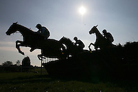 The field in jumping action in the Canterbury Horse Rescue Maiden Hurdle - Horse Racing at Folkestone Racecourse, Westenhanger, Kent - 29/02/12 - MANDATORY CREDIT: Gavin Ellis/TGSPHOTO - Self billing applies where appropriate - 0845 094 6026 - contact@tgsphoto.co.uk - NO UNPAID USE.