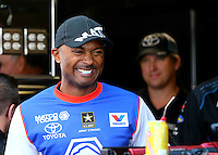 May 17, 2014; Commerce, GA, USA; NHRA top fuel dragster driver Antron Brown during qualifying for the Southern Nationals at Atlanta Dragway. Mandatory Credit: Mark J. Rebilas-USA TODAY Sports