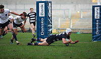 Wednesday 4th March 2020 | WHS vs MCB<br /> <br /> Ben Carson scores for Wallace during the Ulster Schools' Cup Semi-Final between Wallace High School and MCB at Kingspan Stadium, Ravenhill Park, Belfast, Northern Ireland. Photo by John Dickson / DICKSONDIGITAL