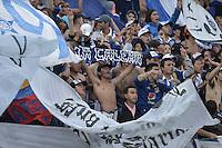 BOGOTA - COLOMBIA -07 -02-2015: Hinchas de Millonarios corean a su equipo durante el partido entre Millonarios y Patriotas FC por la fecha 2 de la Liga Aguila I-2015, jugado en el estadio Nemesio Camacho El Campin de la ciudad de Bogota. /Fans of Millonarios chant to their team during the match between Millonarios and Patriotas FC for the  date 1 of the Liga Aguila I-2015 at the Nemesio Camacho El Campin Stadium in Bogota city, Photo: VizzorImage / Gabriel Aponte / Staff.