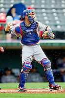 Buffalo Bison catcher Lucas May #26 throws the ball back to his pitcher during the International League game against the Charlotte Knights at Knights Stadium on May 13, 2012 in Fort Mill, South Carolina.  The Bison defeated the Knights 7-6.  (Brian Westerholt/Four Seam Images)