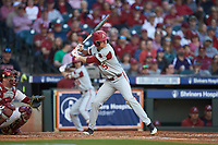 Jacob Nesbit (5) of the Arkansas Razorbacks at bat against the Oklahoma Sooners in game two of the 2020 Shriners Hospitals for Children College Classic at Minute Maid Park on February 28, 2020 in Houston, Texas. The Sooners defeated the Razorbacks 6-3. (Brian Westerholt/Four Seam Images)