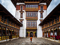 The central courtyard and massive tower of Jakar Dzong, Bhumtang, Bhuta