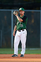 Dartmouth Big Green third baseman Justin Fowler (25) uses his glove to block the sun during a game against the Northeastern Huskies on March 3, 2018 at North Charlotte Regional Park in Port Charlotte, Florida.  Northeastern defeated Dartmouth 10-8.  (Mike Janes/Four Seam Images)