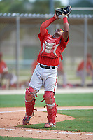 GCL Nationals catcher Jose Cabello (22) catches a popup during the first game of a doubleheader against the GCL Marlins on July 23, 2017 at Roger Dean Stadium Complex in Jupiter, Florida.  GCL Nationals defeated the GCL Marlins 4-0.  (Mike Janes/Four Seam Images)