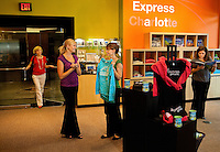 The Express Charlotte store on South Tryon Street in downtown Charlotte carries merchandise promoting this vibrant city and state.