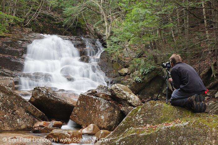A photographer using a tripod at Ellen's Falls which are located along Hobbs Brook in Albany, New Hampshire USA