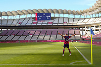KASHIMA, JAPAN - AUGUST 5: Megan Rapinoe #15 of the United States celebrates scoring during a game between Australia and USWNT at Kashima Soccer Stadium on August 5, 2021 in Kashima, Japan.