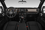 Stock photo of straight dashboard view of 2020 JEEP Wrangler Sport 3 Door SUV Dashboard