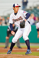 Tennessee Smokies starting pitcher Dae-Eun Rhee #39 in action against the Jackson Generals at Smokies Park on April 13, 2012 in Kodak, Tennessee.  The Smokies defeated the Generals 4-1.  (Brian Westerholt/Four Seam Images)