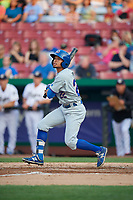 South Bend Cubs left fielder Zach Davis (22) follows through on a swing during a game against the Kane County Cougars on July 23, 2018 at Northwestern Medicine Field in Geneva, Illinois.  Kane County defeated South Bend 8-5.  (Mike Janes/Four Seam Images)