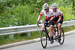 TORONTO, ON, AUGUST 8, 2015. Shawna Ryan and Joanie Caron push up Ellis Ave Hill during the Mixed Road Race B. <br /> Photo: Dan Galbraith/Canadian Paralympic Committee