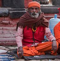 Pashupatinath, Nepal.  Sadhus (Holy Men) at Nepal's Holiest Hindu Temple.