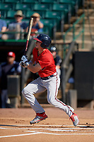 Mississippi Braves Drew Waters (3) at bat during a Southern League game against the Jackson Generals on July 23, 2019 at The Ballpark at Jackson in Jackson, Tennessee.  Jackson defeated Mississippi 2-0 in the first game of a doubleheader.  (Mike Janes/Four Seam Images)