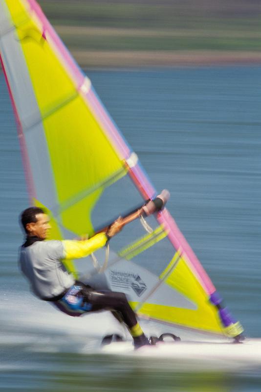 Wind surfer on Columbia River, Oregon