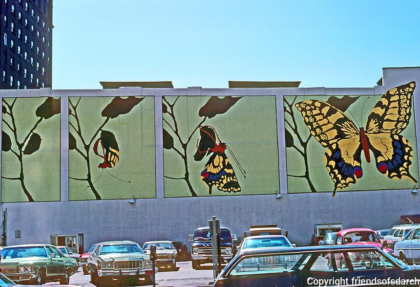 St. Louis: Parking Lot Mural, Pine St. Photo March '77.
