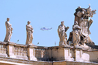 An helicopter arrives at St Peter's square carrying Pope Benedict XVI from Castelgandolfo for his weekly general audience on April 7, 2010