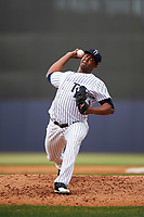 Tampa Yankees starting pitcher Domingo Acevedo (35) delivers a pitch during the first game of a doubleheader against the Bradenton Marauders on April 13, 2017 at George M. Steinbrenner Field in Tampa, Florida.  Bradenton defeated Tampa 4-1.  (Mike Janes/Four Seam Images)