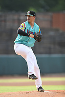 Las Llamas de Hickory starting pitcher Grant Wolfram (36) in action during a game against Los Rapidos de Kannapolis at L.P. Frans Stadium on July 17, 2019 in Hickory, North Carolina. The Llamas defeated the Rapidos 7-5. (Tracy Proffitt/Four Seam Images)