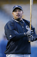 Benny Agbayani of the Colorado Rockies before a 2002 MLB season game against the Los Angeles Dodgers at Dodger Stadium, in Los Angeles, California. (Larry Goren/Four Seam Images)