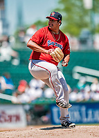 31 May 2018: Portland Sea Dogs pitcher Dedgar Jimenez on the mound against the New Hampshire Fisher Cats at Northeast Delta Dental Stadium in Manchester, NH. The Sea Dogs rallied to defeat the Fisher Cats 12-9 in extra innings. Mandatory Credit: Ed Wolfstein Photo *** RAW (NEF) Image File Available ***